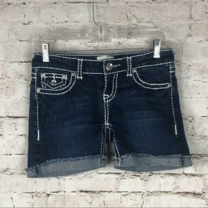 Women's LA Idol Dark Denim Cuffed Jean Shorts Sm